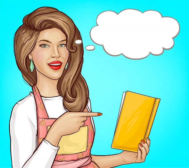 Pop art mulher apontando dedo no livro de receitas aberto, balão em branco