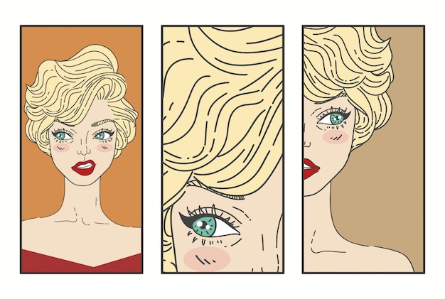 Pop art mulher com lábios vermelhos ilustração