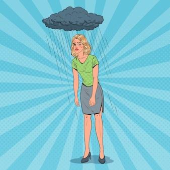Pop art mulher jovem deprimida sob a chuva