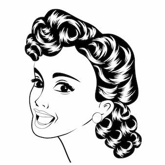 Pop art mulher retro bonito em preto e branco