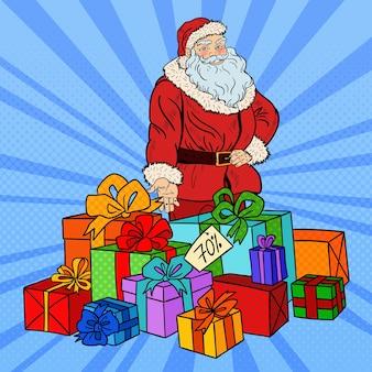 Pop art papai noel com presentes de natal na venda de natal.