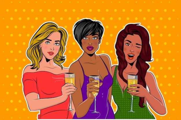 Pop art para meninas elegantemente vestidas em uma festa com uma taça de champanhe