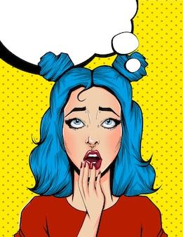 Pop art poster vintage em quadrinhos com bolha do discurso. menina bonita surpresa