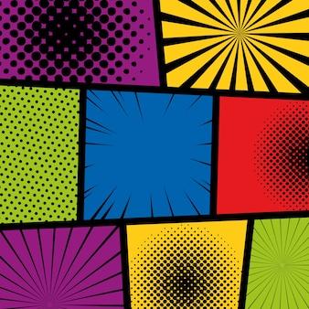 Pop art quadrinhos coloridos fundo meio-tom pontos sunburst estilo retrô