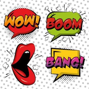 Pop art quadrinhos lábios discurso bolha wow boom bang branco pontos fundo