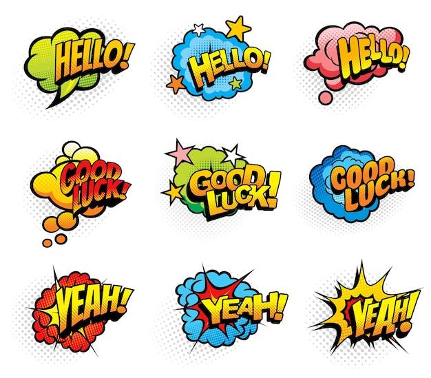 Pop art retro exclamações e desejos de fala em quadrinhos desenhos animados nuvens e bolhas de explosões