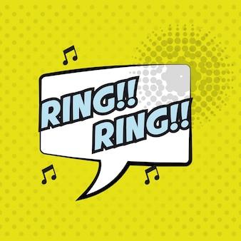 Pop art ring ring bubble speech yellow background