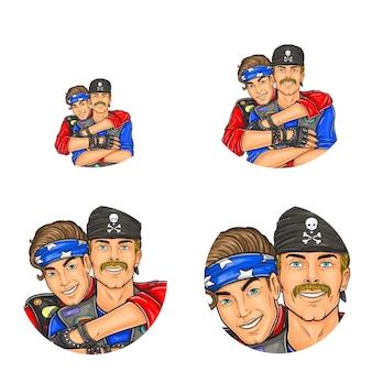 Pop art rodada avatar, ícones de perfil para usuários de redes sociais, blogs