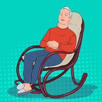 Pop art sênior dormindo na cadeira