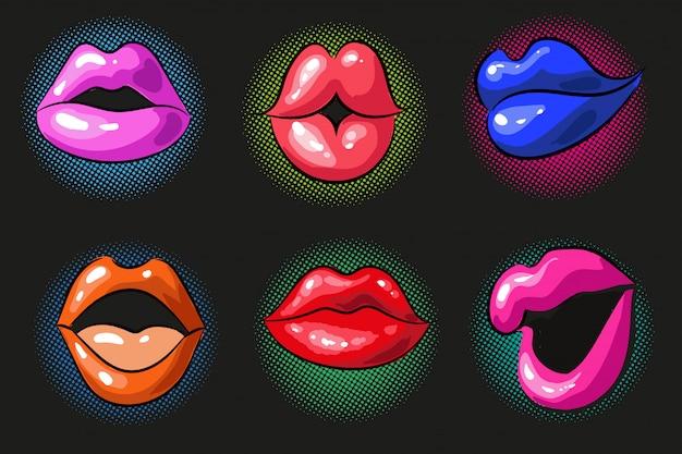 Pop art sexy cor lábios femininos