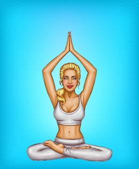Pop art sorridente menina loira fazendo yoga, sentado em uma pose de lótus ou padmasana