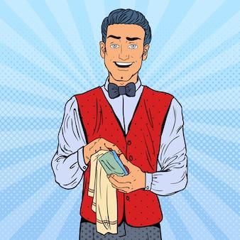 Pop art sorrindo barista limpando vidros na boate.