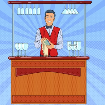 Pop art sorrindo barman limpando vidros no bar.
