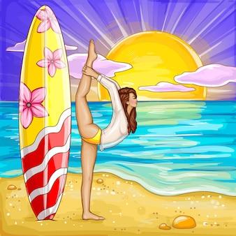 Pop art surfando garota fazendo yoga na praia de areia.
