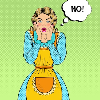 Pop art surpresa dona de casa. mulher bonita jovem chocada no avental. ilustração
