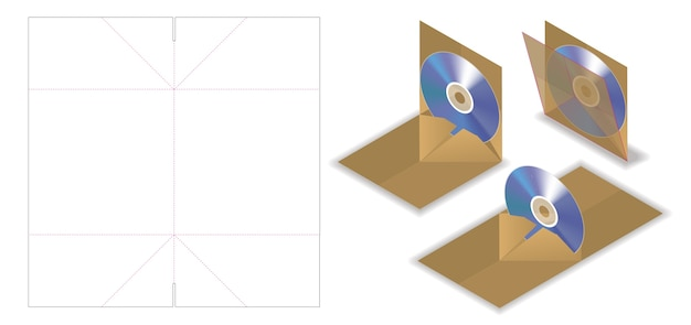 Pop up disco envelope mockup com corte dieline