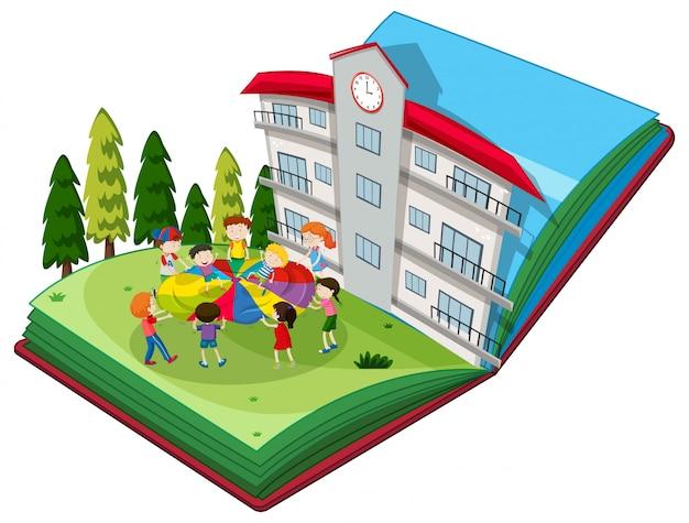 Pop up livro de estudantes que jogam no playground