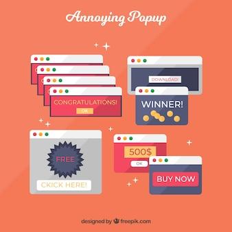 Pop-ups irritantes coloridos com design plano