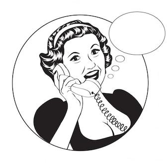 Popart mulher retro quadrinhos que fala pelo telefone