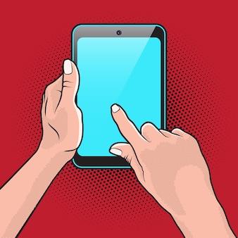 Popart style mokup com tablet pc na mão