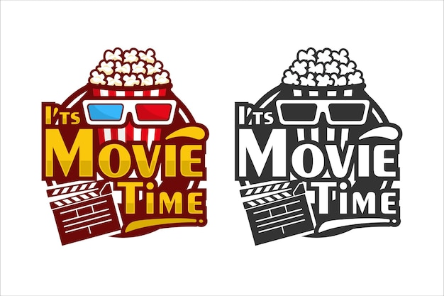 Popcorn movie time design logo illustration isolated