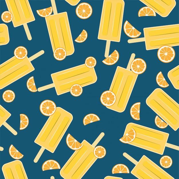 Popsicle orange seamless pattern para o verão