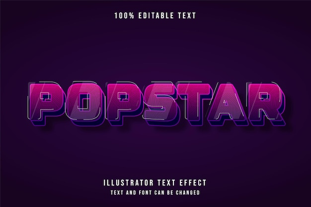 Popstar, efeito de texto editável em 3d gradação de rosa roxo bonito efeito de sombra