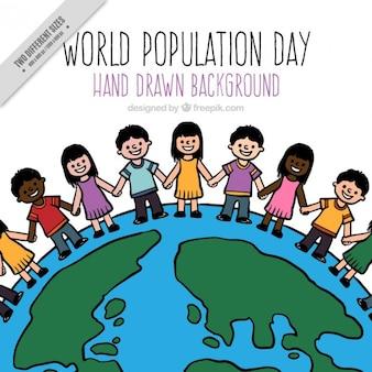 População desenhada mão no fundo do mundo