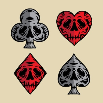 Pôquer ícone crânio ilustração vetorial