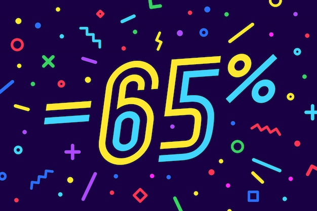 Por cento da venda. para desconto, venda. de cartaz, folheto e banner em estilo geométrico com por cento do texto. adesivo, banner web para venda, desconto. ilustração