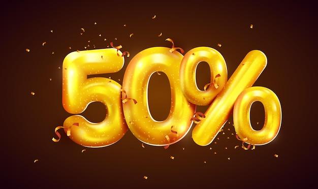 Por cento de desconto na composição criativa da mega venda de balões dourados ou símbolo de bônus de cinquenta por cento com banner de venda de confete