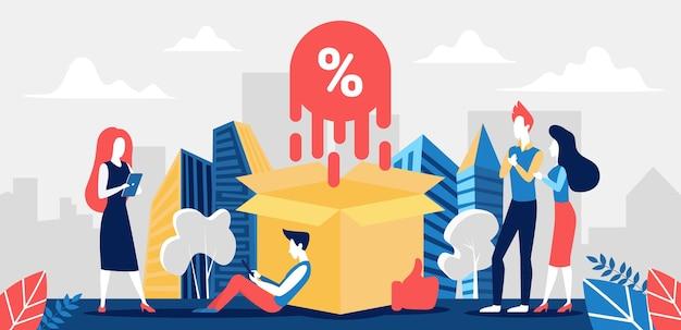 Por cento, ilustração de aumento de porcentagem de taxa de juros.