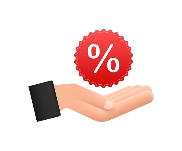 Por cento nas mãos em estilo 3d. desenho vetorial. sinal de porcentagem. ícone do vetor.