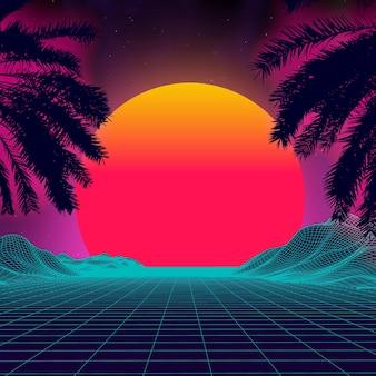 Pôr do sol 3d na praia palmas retrô vector fundo scifi