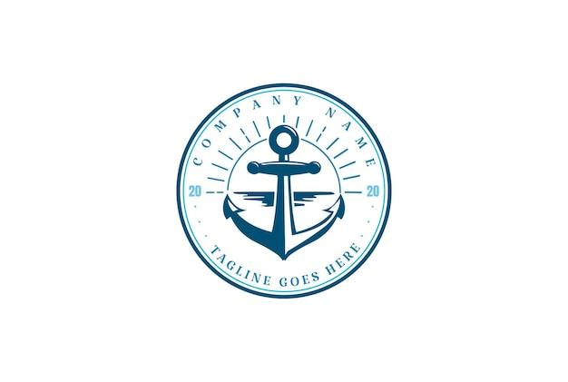 Pôr do sol ao nascer do sol âncora barco navio marinha iate náutico logo design vector