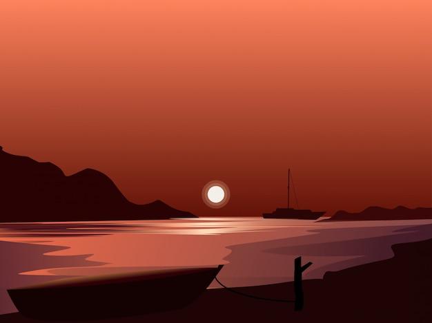 Pôr do sol com barco