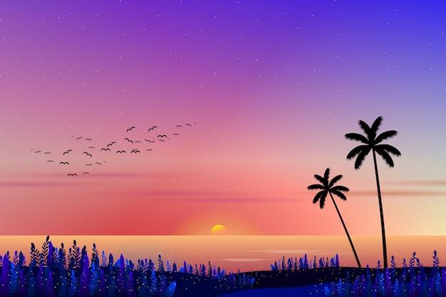 Pôr do sol com paisagem do mar