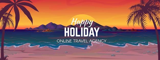 Pôr do sol da praia do mar. paisagem da costa do oceano, viagens de férias com sol e praia tropical do mar de palmeiras.