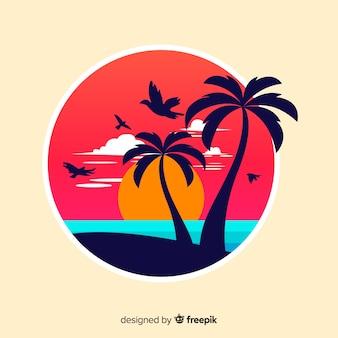 Pôr do sol da praia