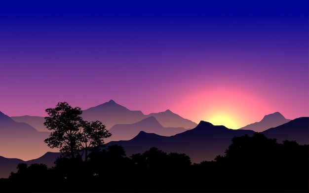 Pôr do sol de montanha com floresta