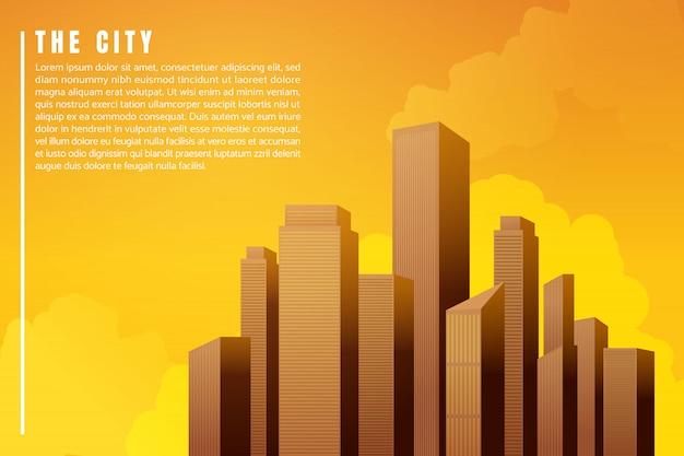 Por do sol dos arranha-céus das construções da arquitetura da paisagem da cidade. ilustração vetorial