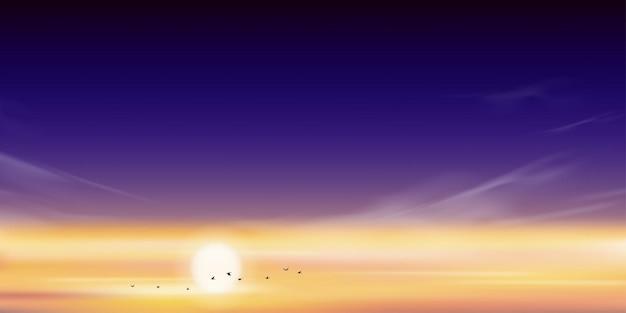 Pôr do sol dramático com linha do céu e pássaros voando no céu