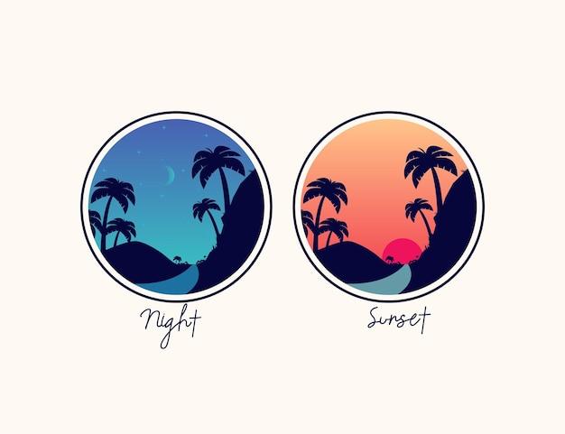 Pôr do sol e montanha à noite com logotipo de ilustração de palmeira