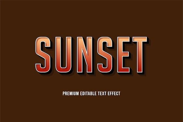 Pôr do sol - efeito de texto editável premium