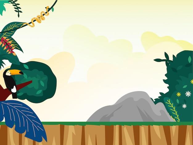 Pôr do sol, em, floresta tropical, paisagem