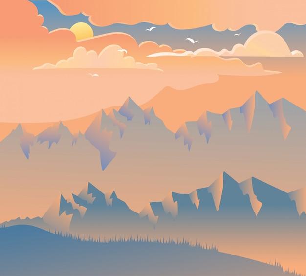 Pôr do sol em ilustração vetorial de montanhas