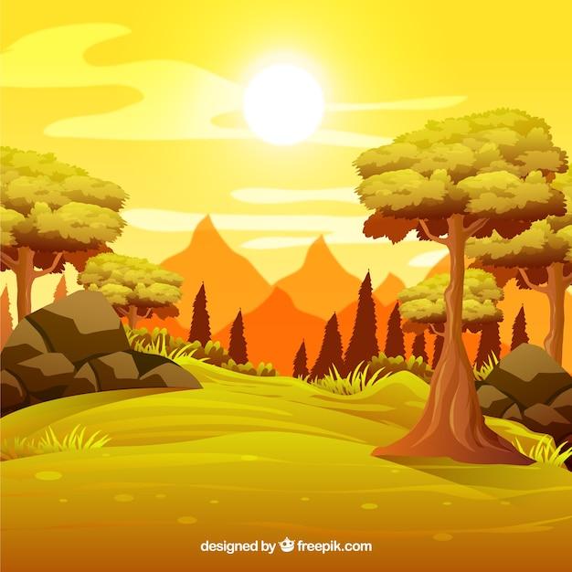 Pôr do sol em uma floresta com montanhas