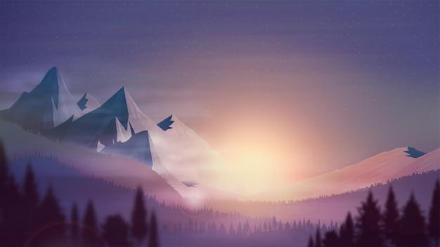 Pôr do sol laranja, área montanhosa, floresta de abetos, céu estrelado colorido e horizonte rochoso, ilustração vetorial realista