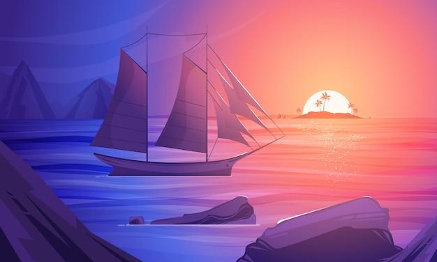 Pôr do sol na composição dos desenhos animados coloridos do mar do sul com um barco à vela perto da ilustração da costa rochosa
