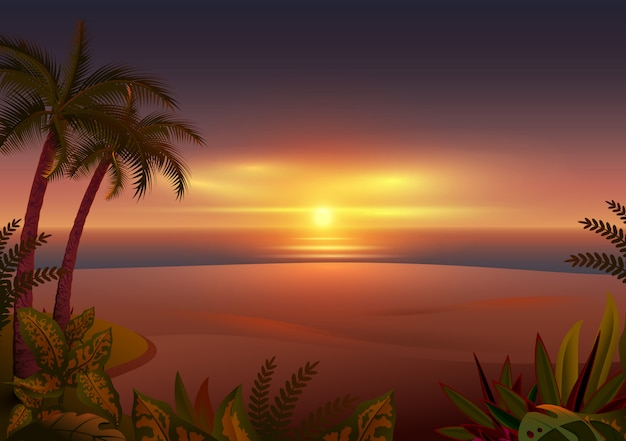 Pôr do sol na ilha tropical. palmeiras, mar e praia